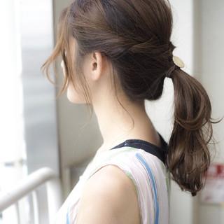 セミロング 簡単ヘアアレンジ 透明感 ヘアアレンジ ヘアスタイルや髪型の写真・画像