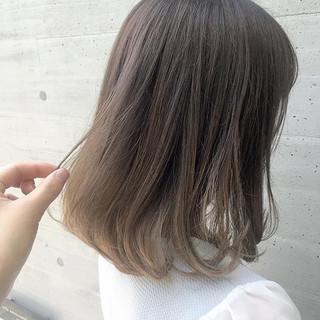 ブラウンベージュ 夏 ボブ ナチュラル ヘアスタイルや髪型の写真・画像