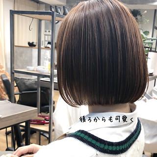 黒髪 ナチュラル ストレート ショートボブ ヘアスタイルや髪型の写真・画像