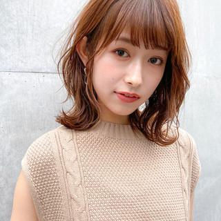 モテ髪 ミディアム デジタルパーマ ミディアムレイヤー ヘアスタイルや髪型の写真・画像