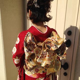 成人式 ショート 振袖 ヘアアレンジ ヘアスタイルや髪型の写真・画像