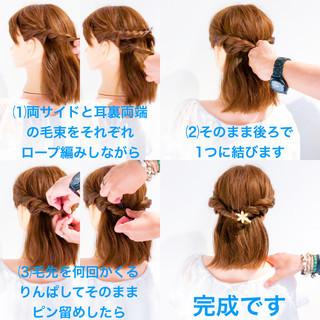 アウトドア ヘアアレンジ 簡単ヘアアレンジ デート ヘアスタイルや髪型の写真・画像