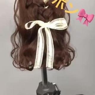 ミディアム 簡単ヘアアレンジ ハーフアップ ショート ヘアスタイルや髪型の写真・画像