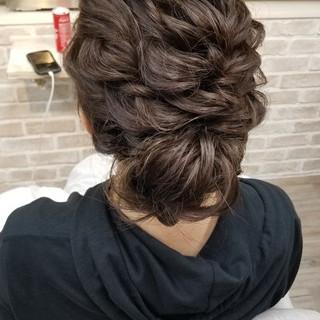 パーティ 結婚式 涼しげ セミロング ヘアスタイルや髪型の写真・画像