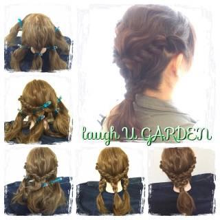 ゆるふわ 編み込み 大人かわいい ミディアム ヘアスタイルや髪型の写真・画像
