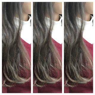 グラデーションカラー ベージュ ロング ゆるふわ ヘアスタイルや髪型の写真・画像