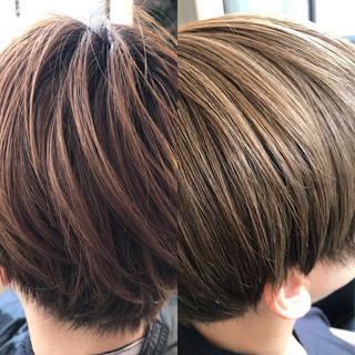 ショート モード ハイライト イルミナカラー ヘアスタイルや髪型の写真・画像