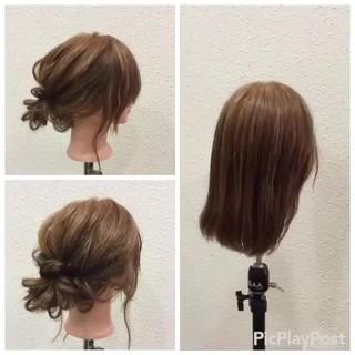 二次会 ボブ ナチュラル 簡単ヘアアレンジ ヘアスタイルや髪型の写真・画像