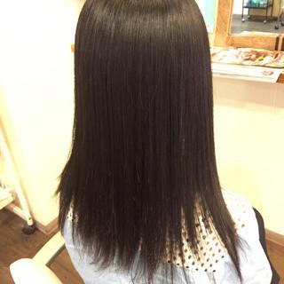 ストレート ナチュラル 縮毛矯正 簡単ヘアアレンジ ヘアスタイルや髪型の写真・画像