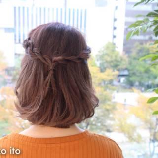 フェミニン ラフ ボブ ヘアアレンジ ヘアスタイルや髪型の写真・画像