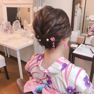 ガーリー 和装 夏 涼しげ ヘアスタイルや髪型の写真・画像 | Moriyama Mami / 福岡天神ヘアセット・着付け専門店【Three-keys】