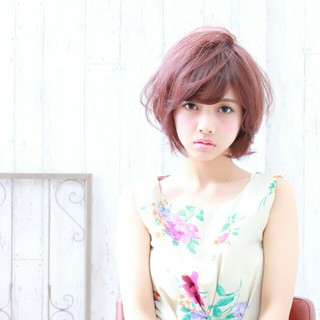 ゆるふわ 大人かわいい フェミニン ピンク ヘアスタイルや髪型の写真・画像