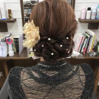 簡単ヘアアレンジ エレガント ヘアアレンジ ロング ヘアスタイルや髪型の写真・画像