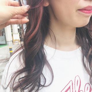 ピンク ピンクブラウン ロング 外国人風 ヘアスタイルや髪型の写真・画像