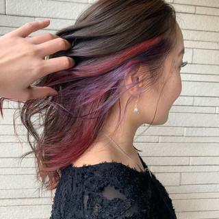 大人かわいい ミディアム ピンク ハイトーン ヘアスタイルや髪型の写真・画像