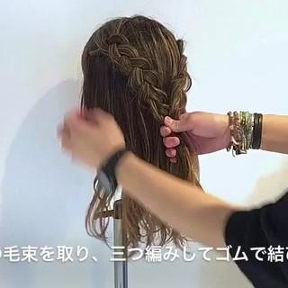 結婚式 外国人風 編み込み ヘアアレンジ ヘアスタイルや髪型の写真・画像