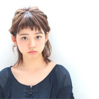 ハーフアップ ヘアアレンジ ガーリー ミディアム ヘアスタイルや髪型の写真・画像