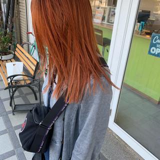 ストリート 切りっぱなしボブ オレンジ ダブルカラー ヘアスタイルや髪型の写真・画像 ヘアスタイルや髪型の写真・画像