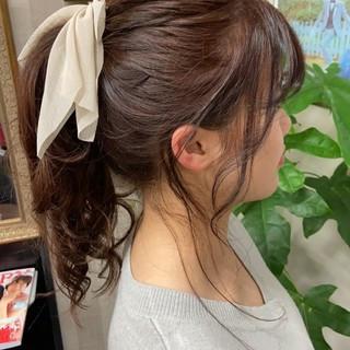 簡単ヘアアレンジ ポニーテールアレンジ ポニーテール ナチュラル ヘアスタイルや髪型の写真・画像