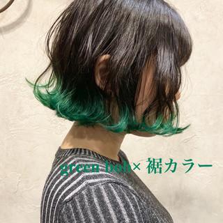 ミント ストリート ボブ グリーン ヘアスタイルや髪型の写真・画像 ヘアスタイルや髪型の写真・画像