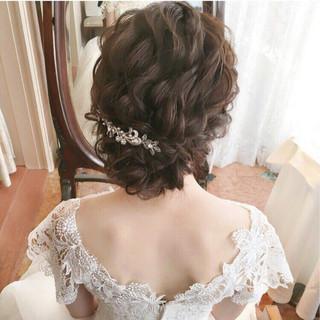 結婚式 パーティ セミロング ヘアアレンジ ヘアスタイルや髪型の写真・画像