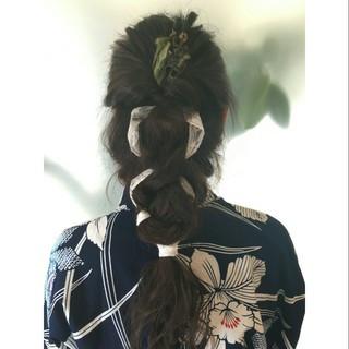 編み込み 抜け感 ロング アンニュイ ヘアスタイルや髪型の写真・画像