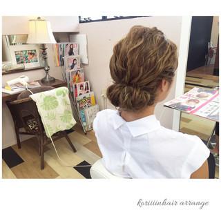 結婚式 編み込み パーティ セミロング ヘアスタイルや髪型の写真・画像