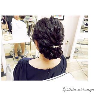 ヘアアレンジ 結婚式 編み込み 二次会 ヘアスタイルや髪型の写真・画像