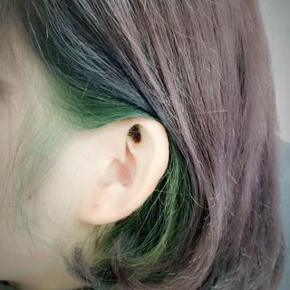 インナーカラー ショート ブリーチ ストリート ヘアスタイルや髪型の写真・画像