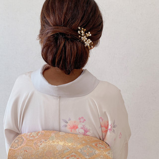 ロング シニヨン 着物 エレガント ヘアスタイルや髪型の写真・画像