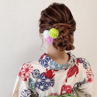 アップスタイル ヘアアレンジ エレガント デート ヘアスタイルや髪型の写真・画像