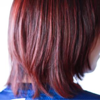 ナチュラル ミディアム ピンク 冬 ヘアスタイルや髪型の写真・画像