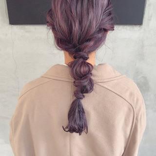 ハイトーンカラー ラベンダーカラー セミロング ブリーチカラー ヘアスタイルや髪型の写真・画像