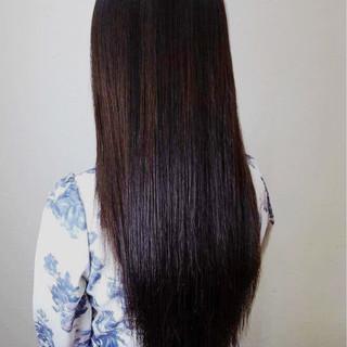 黒髪 ロング ストレート 縮毛矯正 ヘアスタイルや髪型の写真・画像