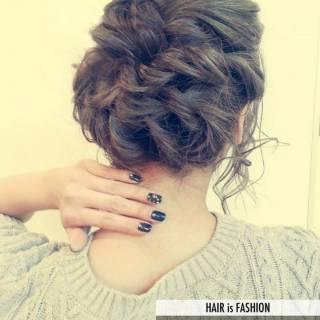 コンサバ 結婚式 編み込み 簡単ヘアアレンジ ヘアスタイルや髪型の写真・画像