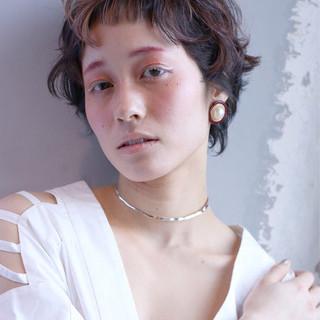 グラデーションカラー ハイライト ショート パーマ ヘアスタイルや髪型の写真・画像