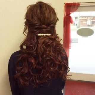 上品 編み込み セミロング 結婚式 ヘアスタイルや髪型の写真・画像 ヘアスタイルや髪型の写真・画像