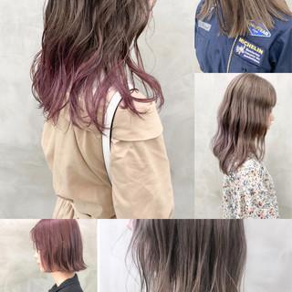 ラベンダーカラー デザインカラー 裾カラー ラベンダーグレージュ ヘアスタイルや髪型の写真・画像
