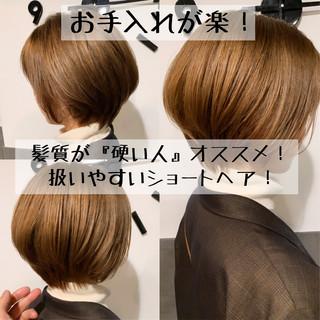 ベージュ ミルクティーベージュ ショートボブ ショート ヘアスタイルや髪型の写真・画像