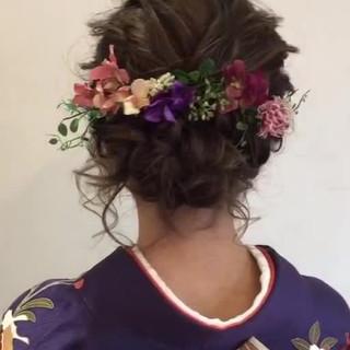 成人式 ミディアム ヘアアレンジ フェミニン ヘアスタイルや髪型の写真・画像