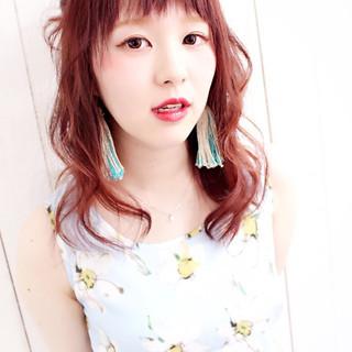 ハーフアップ 涼しげ ピンク ヘアアレンジ ヘアスタイルや髪型の写真・画像