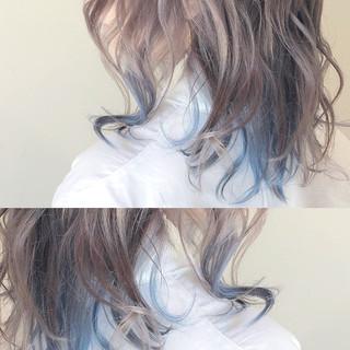 バレイヤージュ ピンク ストリート ハイライト ヘアスタイルや髪型の写真・画像