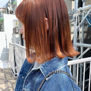 モテボブ オレンジ 切りっぱなしボブ ナチュラル ヘアスタイルや髪型の写真・画像