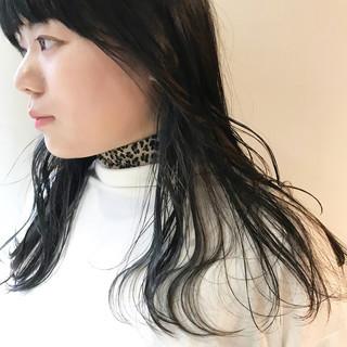 ネイビー ネイビーアッシュ ネイビーカラー ロング ヘアスタイルや髪型の写真・画像