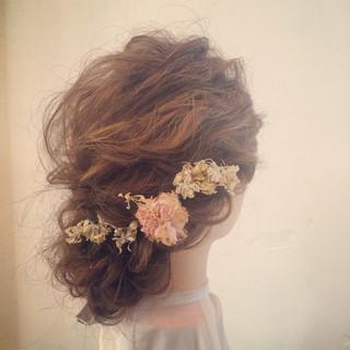 ロング 波ウェーブ 結婚式 ヘアアレンジ ヘアスタイルや髪型の写真・画像