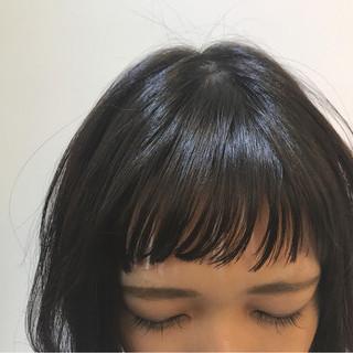 ボブ ナチュラル オン眉 前髪パッツン ヘアスタイルや髪型の写真・画像