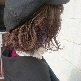 ボブ グレージュ インナーカラー パープル ヘアスタイルや髪型の写真・画像
