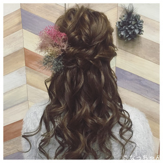ハーフアップ 結婚式 ブライダル ロング ヘアスタイルや髪型の写真・画像