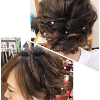 アップスタイル ヘアアレンジ セミロング ルーズ ヘアスタイルや髪型の写真・画像 ヘアスタイルや髪型の写真・画像