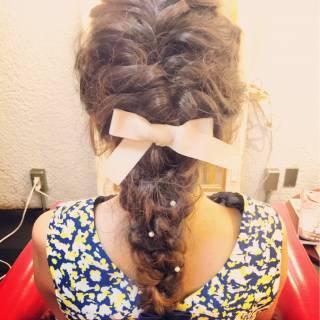 簡単ヘアアレンジ 編み込み ウェーブ ヘアアレンジ ヘアスタイルや髪型の写真・画像